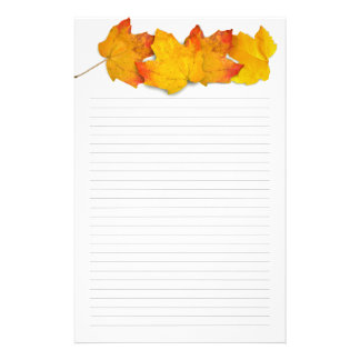 Fall Maple Leaf Border, Lined Writing Paper