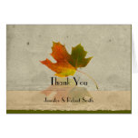 Fall Maple Leaf on Faux Paper Wedding Thank You