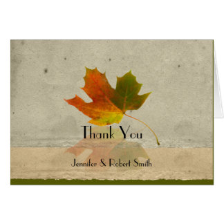 Fall Maple Leaf on Faux Paper Wedding Thank You Card