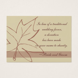 Fall Maple Leaf Wedding Charity Favor Card