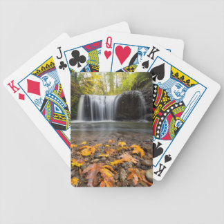 Fall Maple Leaves at Hidden Falls waterfall Bicycle Playing Cards