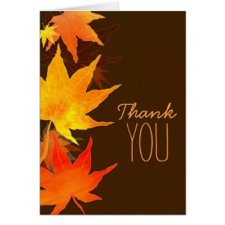 Fall Maple Leaves Brown Wedding Thank You Card