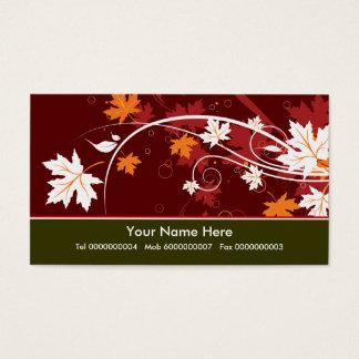 Fall maple leaves in autumn colors business card