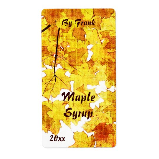 Fall maple leaves maple syrup label