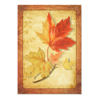 Fall Maple Leaves Wedding Invitation Ver Two