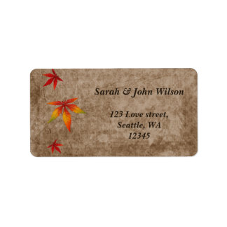 fall maple  leaves wedding ,return address label