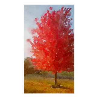 Fall Maple Tree in Full Color, Watercolor Poster
