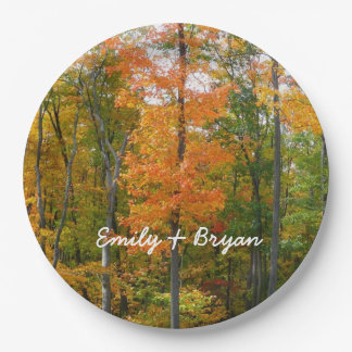 Fall Maple Trees Autumn Nature Photography Paper Plate