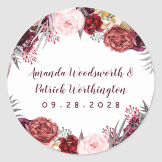 Fall Marsala Blush Pink Peony Autumn Wedding Favor Classic Round Sticker