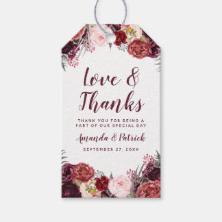 Fall Marsala Blush Pink Peony Wedding Favor Tags