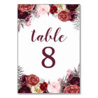 Fall Marsala Peony Wedding Table Number Cards