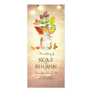 Fall Mason Jar and String Lights Wedding Programs