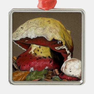 Fall Mushroom Autumn Leaves Metal Ornament