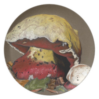 Fall Mushroom Autumn Leaves Plate