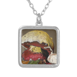 Fall Mushroom Autumn Leaves Silver Plated Necklace