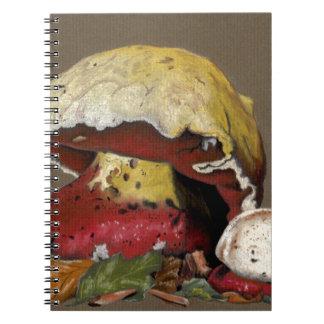 Fall Mushroom Autumn Leaves Spiral Notebook