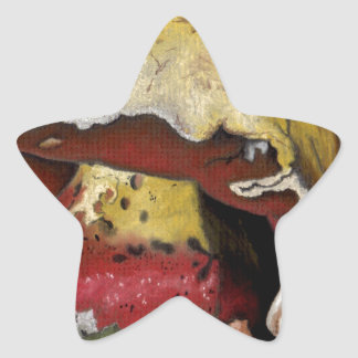 Fall Mushroom Autumn Leaves Star Sticker