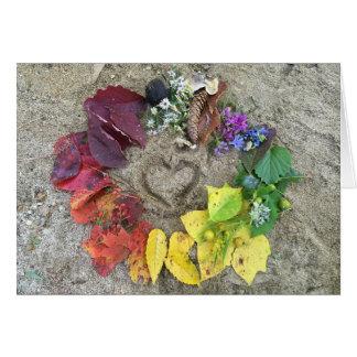 Fall nature rainbow wreath card