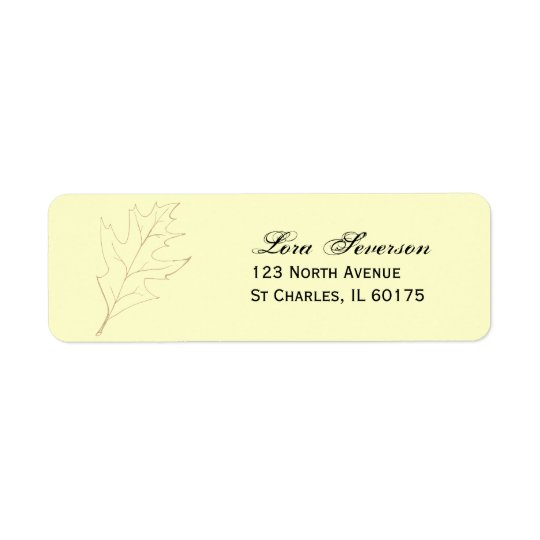Fall Oak Leaf Return Address Label