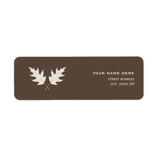 Fall Oak Leaf Rubbing Address Label