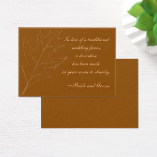 Fall Oak Leaf Wedding Charity Favor Card