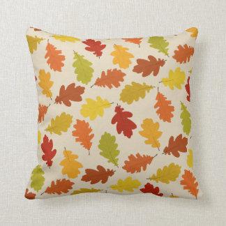 Fall Oak Leaves Pattern Beige Throw Pillow