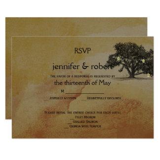 Fall Oak Tree Lantern Wedding Response Card