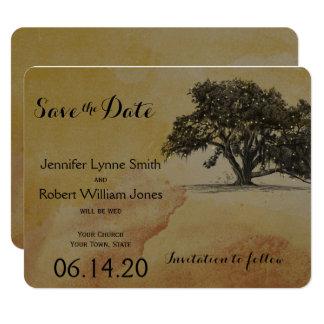 Fall Oak Tree String Lights Wedding Save the Date Card
