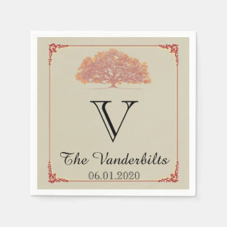 Fall Oak Tree Wedding Napkin Disposable Napkin