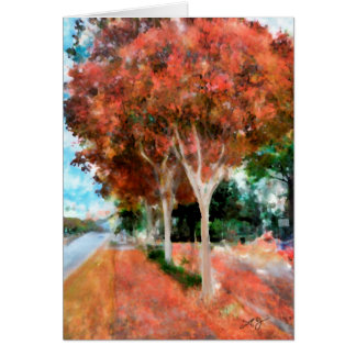 Fall Orange Trees Digital Art Watercolor by Laurel Card