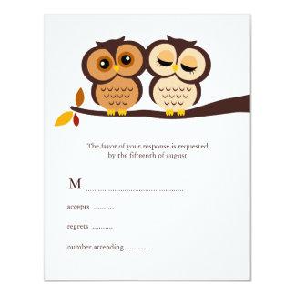 "Fall Owls Wedding Response Cards 4.25"" X 5.5"" Invitation Card"