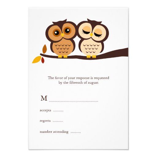 Fall Owls Wedding Response Cards