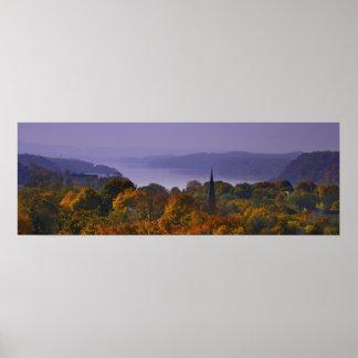 Fall Panorama Hudson River in Poughkeepsie Poster