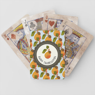 Fall Pears Fruit Thanksgiving Bicycle Playing Cards