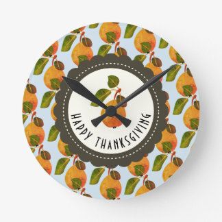 Fall Pears Fruit Thanksgiving Round Clock
