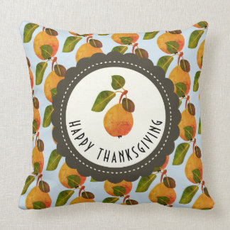 Fall Pears Fruit Thanksgiving Throw Pillow
