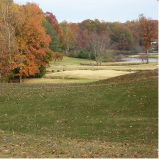 Fall photo of golf course. standing photo sculpture