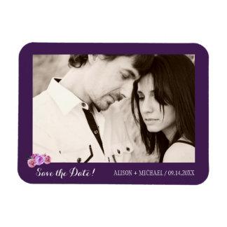 Fall plum peony bouquet save the date wedding rectangular photo magnet