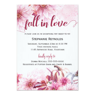 Fall Pumpkin and Dahlia Bridal Shower Invitation