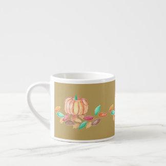 Fall pumpkin and leaves espresso mug