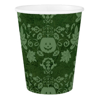 Fall Pumpkin and Leaves Green Paper Cup