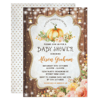 Fall Pumpkin Baby Shower Invitation Autumn Floral