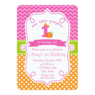 "Fall Pumpkin Birthday Invitation, Girl Pumpkin 5"" X 7"" Invitation Card"