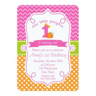 "Fall Pumpkin Birthday Invitation, Girl Pumpkin 5"" X 7"" Invitation Card"
