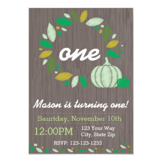 Fall Pumpkin Birthday Invitation (green)