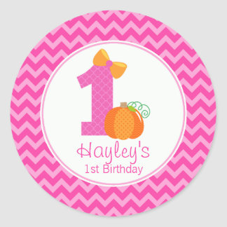 Fall Pumpkin Birthday Sticker, Girl Pumpkin 1st Classic Round Sticker