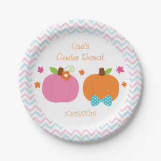 Fall Pumpkin Gender Reveal Paper Plates