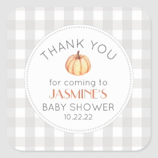 Fall pumpkin gingham neutral baby shower favor square sticker