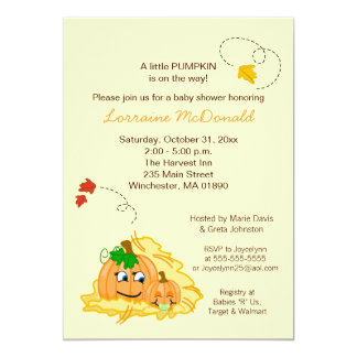 Fall Pumpkin Neutral Baby Shower Invitation Cream