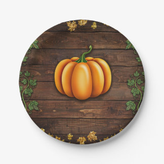 Fall Pumpkin Rustic Green Gold Ivy Autumn Country Paper Plate
